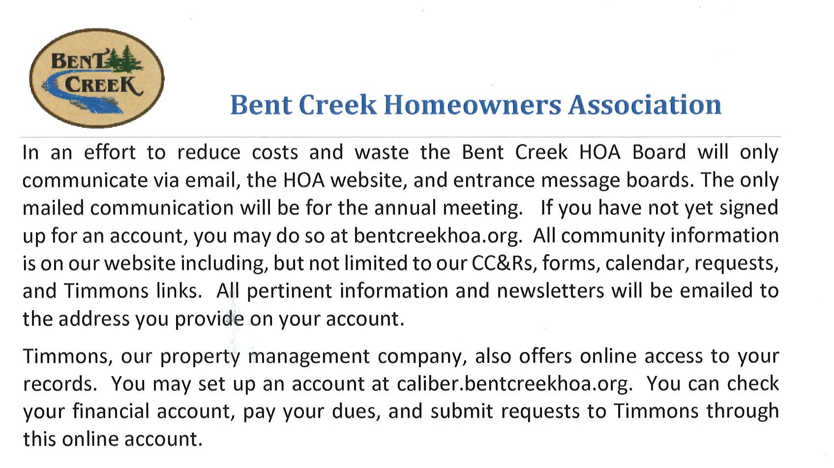 Bent Creek Official Communications 1